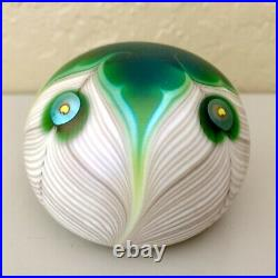 Lundberg Studios Art Glass Paperweight 1976 Stylized Peacock Pulled Feathers 804