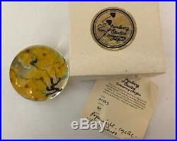 Lundberg Studios Crystal Paperweight Yellow Flower Signed Daniel Salazar with Cert