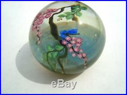 Lundberg Studios D. Salazar 1981 Butterfly & Flowers Paperweight LE #42of 200