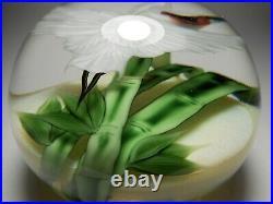 Lundberg Studios Salazar 2002 White Crane Super Magnum Art Glass Paperweight