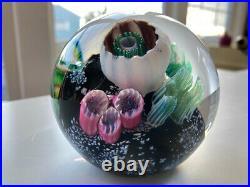 M. E. 91 MARK ECKSTRAND ART GLASS PAPERWEIGHT Sea life, Coral 3 1/2