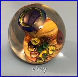 M. Stone Vitra Glass Studio 1995 Paperweight Signed, Coral Reef Ocean Abstract
