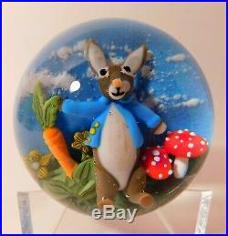 MARVELOUS Clinton Smith RABBIT Lampwork Art Glass PAPERWEIGHT & Signature Cane