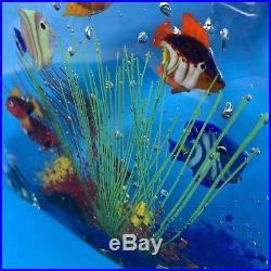 MURANO 6 Fish GLASS AQUARIUM BLOCK Art Paperweight SCULPTURE Angelfish Italy