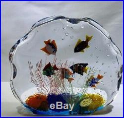 MURANO Art Glass 6 TROPICAL FISH AQUARIUM SCULPTURE Paperweight