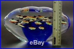MURANO Fish Aquarium Italian Blue Art Glass Sculpture/Paperweight, Apr 4Hx7.5W