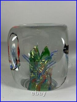 MURANO SOLID GLASS FISH AQUARIUM CUBE SCULPTURE ITALY 3lbs3oz 3.5 x 3.25