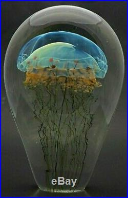 Magnificent RICK SATAVA Blue MOON JELLYFISH Art Glass PAPERWEIGHT with Base 7.8