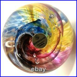 Magnificent Selkirk Rainbow Swirl Art Glass Paperweight Signed Selkirk Scotland