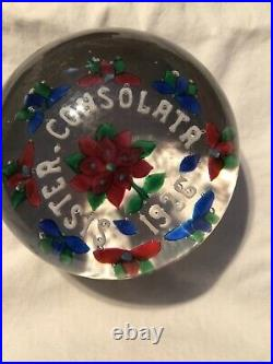 Magnum Antique Union Glass (Somerville, MA) Paperweight Sister. Consolata 1926
