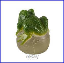 Margit Toth (Hungarian, 1963-) Pate De Verre Frog Figurine / Paperweight, Signed