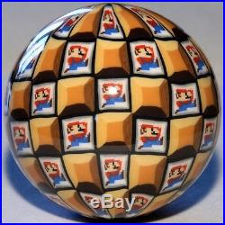 Mario Sphere 1 9/16 Contemporary Art Marble Paperweight by Carl Fisher Marbles