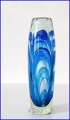Mark Peiser American studio art glass signed 10 ½ blue paperweight vase 1969