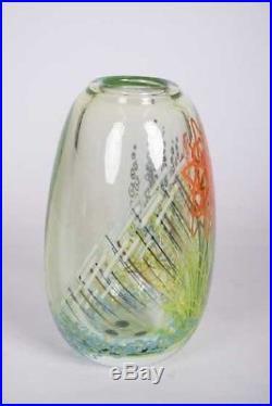 Mark Peiser Art Glass Paperweight Vessel Vase #264 The Garden 1980 Signed