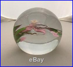 Mayauel Ward Iris / Orchid Large Paperweight Signed Dated