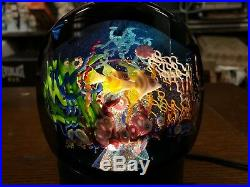 Mayauel Ward Studio Art Glass PAPERWEIGHT 5 X 4 LARGE AQUARIUM FISH with LIGHT