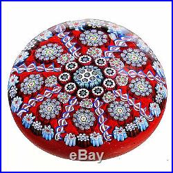 McDougall Large Millefiori PANEL WEIGHT withComplex Canes on Red
