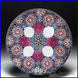 Mike Hunter 2019 pink and white roses close concentric glass paperweight
