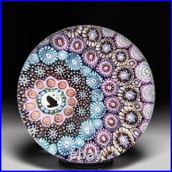 Mike Hunter 2020 off-set close concentric millefiori and panda glass paperweight