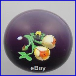 Modern Baccarat Limited Edition Paperweight Yellow Peonies