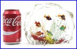 Multicolored MURANO Swimming Fish AQUARIUM Art Glass BLOCK Paperweight SCULPTURE