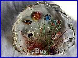 Murano Art Glass Aquarium Paperweight Fish Ocean Block L@@K! LARGE