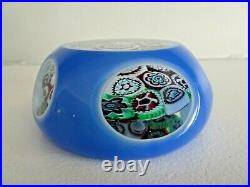 Murano Art Glass DOUBLE OVERLAY FACETED MILLEFIORI Paperweight Mushroom Blue