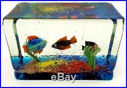 Murano Art Glass Fish Aquarium Block Paperweight Sculpture