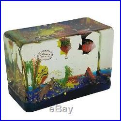 Murano Art Glass Fish Aquarium Block Paperweight Sculpture with Stickers