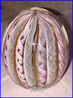 Murano Art Glass Latticino Twisted Ribbon Paperweight