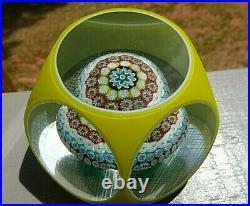 Murano Art Glass OVERLAY FACETED MILLEFIORI Mushroom Paperweight TOSO Date CANE