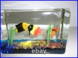 Murano Block Aquarium Fish Sea Plants Cenedese Licata Barbini Aventurine withLabel