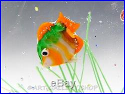 Murano Italian Studio Art Glass SCULPTURE PAPERWEIGHT AQUARIUM FISH BOWL TANK