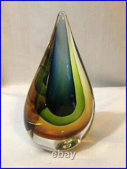 Murano Seguso Flavio Poli Teardrop Art Glass Sommerso Orange Green Blue Clear
