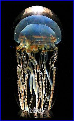 NEW RICK SATAVA Moon Jellyfish Sculpture Paperweight Studio Art Glass