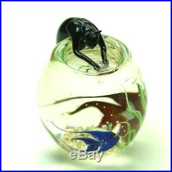 New Art Glass Paperweight By Correia Art Glass Cat In The Fishbowl Signed