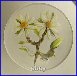 New Lampwork Glass Two Flower Paperweight Trower 2020