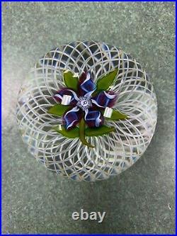 Nice P Initial Perthshire Millefiori Paperweight White Lattice Purple Flower
