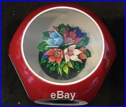 No Reserve VINTAGE ST LOUIS Bouquet FLOWER Facete Art Glass PAPERWEIGHT