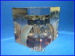Nuutajarvi Scandinavian Art Glass Annual Cube 1977 Oiva Toikka Paperweight no14