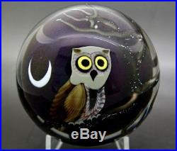 ORIENT AND FLUME Moon & Night Owl Art Glass Unique Paperweight, Apr 2.5Hx3.5W
