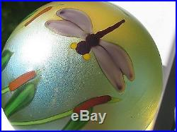 ORIENT AND FLUME PURPLE DRAGONFLY PAPERWEIGHT Pale Gold, Red Cattails, 3, 1981