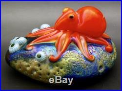ORIENT & FLUME Smallhouse Orange Octopus Art Glass Paperweight, Apx 2.75Hx4.75W