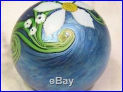 Orient And Flume Richard Braley Mystic Floral Paperweight Iridescent Blue Green