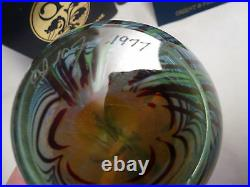 Orient & Flume 1977 Flowers & Dragonfly Signed Art Glass Paperweight BOX PAPER