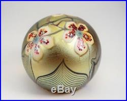 Orient & Flume Art Glass Gold Aurene Paperweight 1979 Flowers