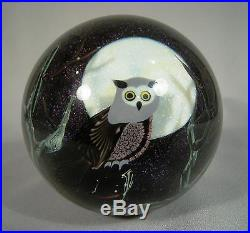 Orient Flume Art Glass Limited Edition Owl Paperweight Artist Signed E. Seaira