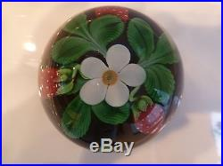 Orient & Flume Crystal Cased Strawberries & Blossom Paperweight Seaira 1984 LE