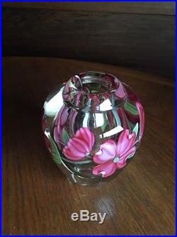 Orient & Flume Dogwood Vase Cased Art Glass Signed Gary Jones Chico Paperweight