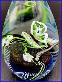 Orient & Flume Glass Egg Paperweight Butterfly 1979 Stunning Art Glass Piece